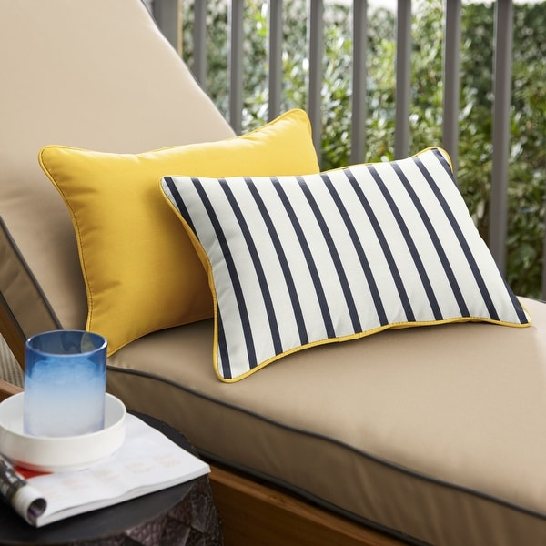 Sunbrella 2-sided Corded Lumbar Pillows (Set of 2) by Havenside Home. Opens flyout.