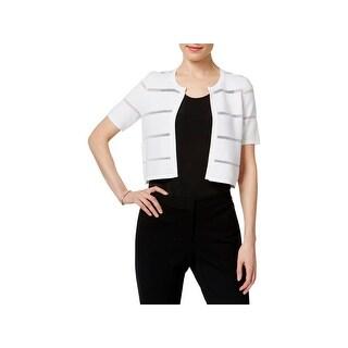 Calvin Klein Womens Shrug Sweater Illusion Stripe