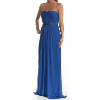 Womens Blue Full-Length Sheath Prom Dress Size: 10