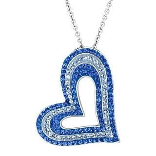 Crystaluxe Concentric Heart Pendant with Blue Swarovski Crystals in Sterling Silver
