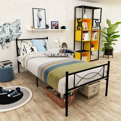 Easy-to-assemble Metal Bed Frame Platform with Under-bed Storage Twin