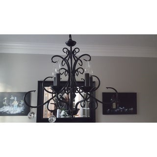 Bellora Crystal Wrought Iron Chandelier Lighting With Faceted Crystal Balls