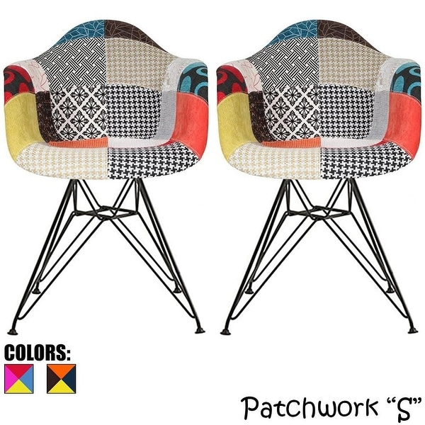 Set of 2 Patchwork Fabric Dark Black Chrome Wire Dining. Opens flyout.