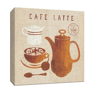 "PTM Images 9-153519  PTM Canvas Collection 12"" x 12"" - ""Latte on Linen"" Giclee Coffee, Tea & Espresso Art Print on Canvas"