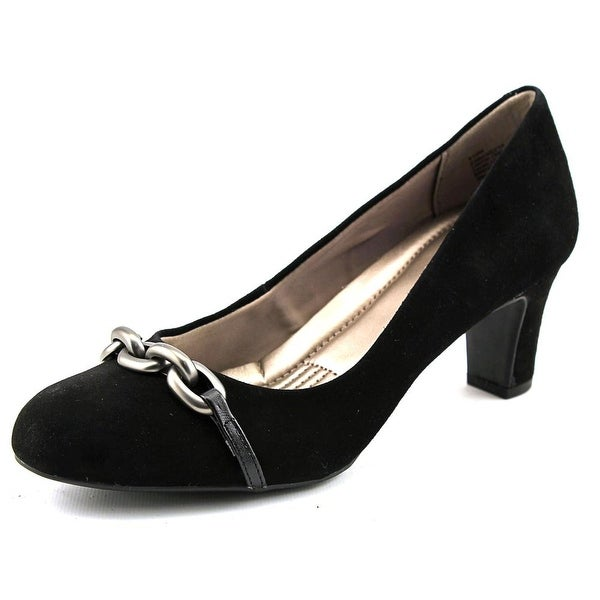 Easy Spirit Rickeeta Women Round Toe Suede Black Heels