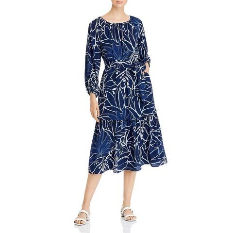 Lafayette 148 New York Womens Aurora Maxi Dress Tie Waist Bateau Neck - Royal Blue Multi