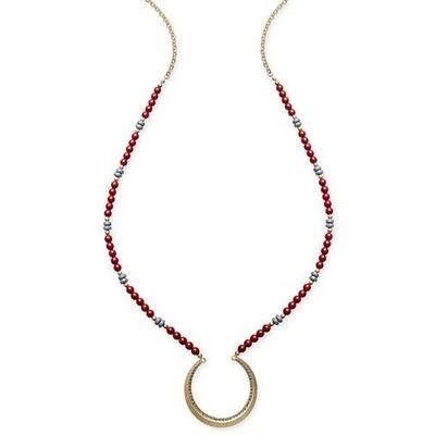 Inc International Concepts Gold-Tone Beaded Half-Circle Pendant Necklace - Red - Medium