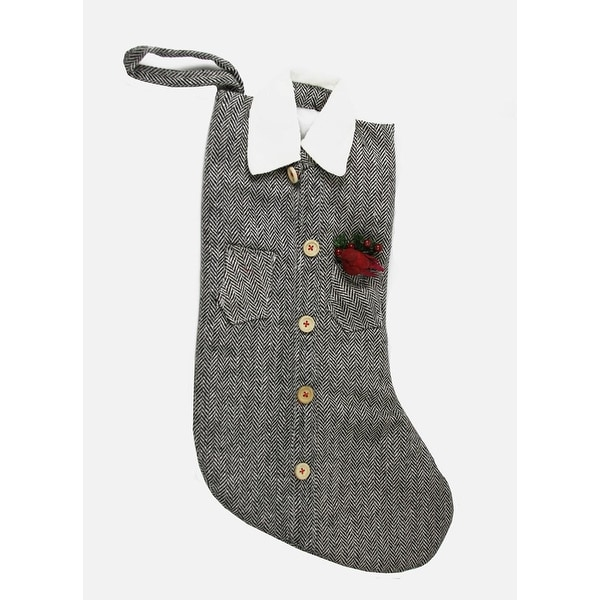 "20"" Silver and Black Tweed Button Down Shirt Christmas Stocking w/ Cardinal Bird"