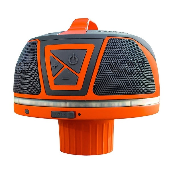 WOW-SOUND Floating Waterproof Stereo Speaker - Bluetooth, 50 Hour Battery, 360 Degree Sound, LED Light, Fits In A Cup Holder