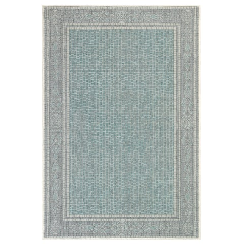 "Liora Manne Carmel Ancient Border Indoor/Outdoor Rug Aqua 6'6""X9'4"""