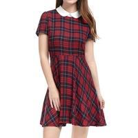 Allegra K Women Plaids Contrast Peter Pan Collar Puff Sleeves Above Knee Dress - Red