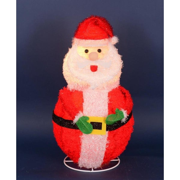 """24"""" Lighted 3-D Chenille Jolly Santa Claus Outdoor Christmas Decoration"""
