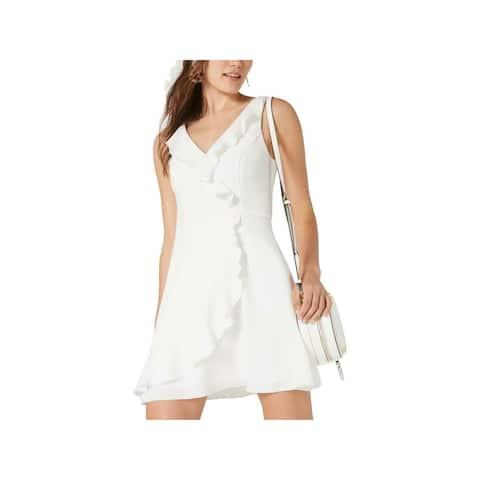 TEEZE ME Womens White Sleeveless Mini Faux Wrap Dress Size 5\6