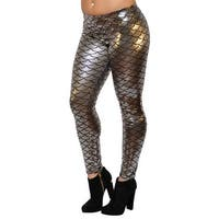 Women's Mermaid Leggings Medium Silver