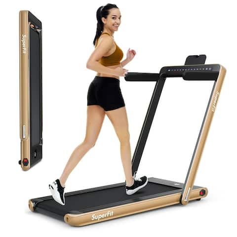 2-in-1 Electric Motorized Health and Fitness Folding Treadmill with Dual Display and Bluetooth Speaker
