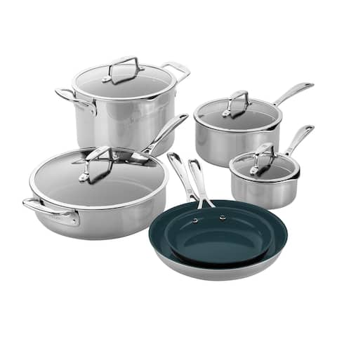 ZWILLING Clad CFX Stainless Steel Ceramic Nonstick Cookware Set - Stainless Steel