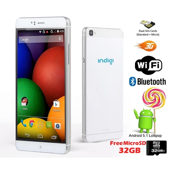 "Indigi® 3G Factory Unlocked 6"" DualSim SmartPhone Android 5.1 Lollipop w/ WiFi + Bluetooth Sync + 32gb microSD Included - White"