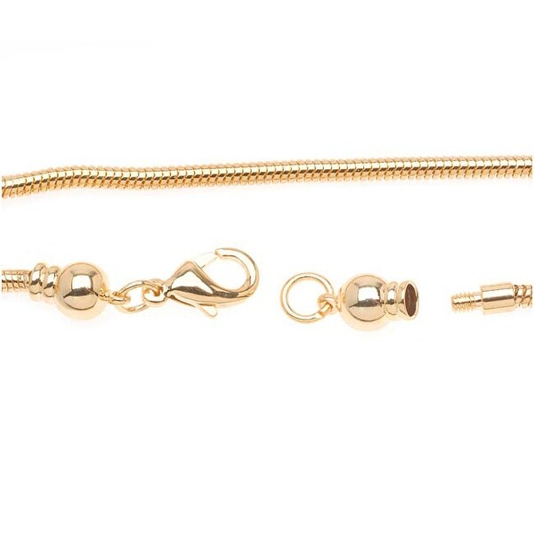 Gold Plated Charm Bracelet For European Style Large Hole Beads - Screw End 8.5 Inches