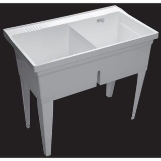 "Proflo PFLT4024 40"" Double-Basin Free Standing Laundry Sink with 50/50 Split"