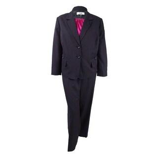 Le Suit Women's Plus Size Three-Piece Pinstripe Pantsuit (22W, Black/Fuchsia) - Black/Fuchsia - 22W