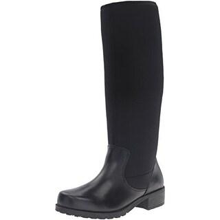 SoftWalk Womens Biloxi Knee-High Boots Leather Stacked Heel - 6 medium (b,m)