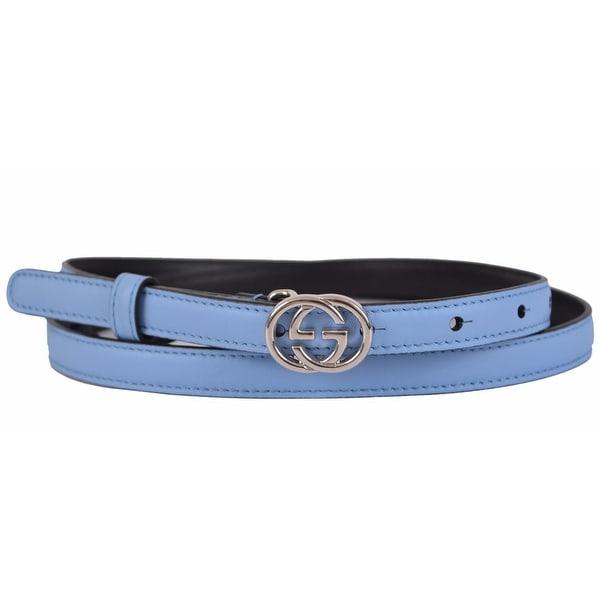 Gucci Women's 370552 Blue Leather Interlocking GG Buckle Skinny Belt 34 85