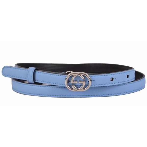 Gucci Women's 370552 Blue Leather Interlocking GG Buckle Skinny Belt 38 95