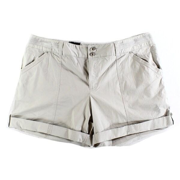 INC NEW Sky Gray Women's Size 12 Regular Fit Cuffed Twill Casual Shorts