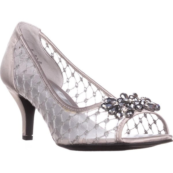 KS35 Maralyn Jeweled Peep-Toe Heels, Silver