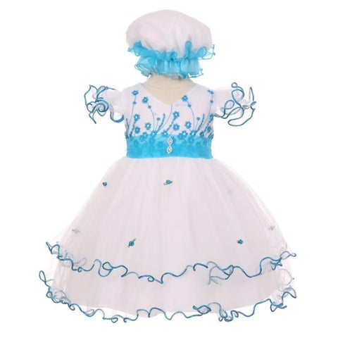 Baby Girls Turquoise Floral Embroidery Jewel Ruffle Bonnet Flower Girl Dress 3-24M
