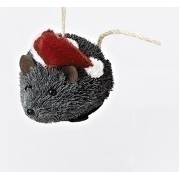 3.5 Gray Sisal Mouse in Red Santa Hat Decorative Christmas Ornament