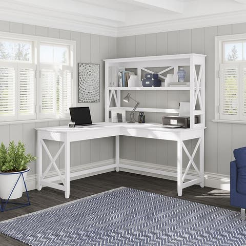 Key West 60W L Shaped Desk with Hutch by Bush Furniture