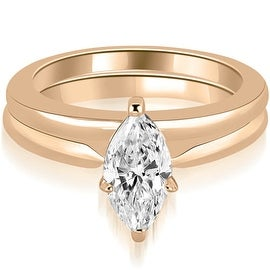 1.00 cttw. 14K Rose Gold Classic Solitaire Marquise Cut Diamond Bridal Set