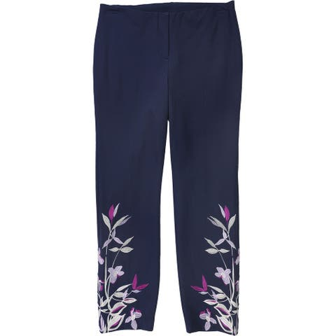 Alfani Womens Embroidered Casual Cropped Pants