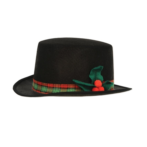 Pack of 12 Black Felt with Plaid Band and Holly Christmas Caroler Hat