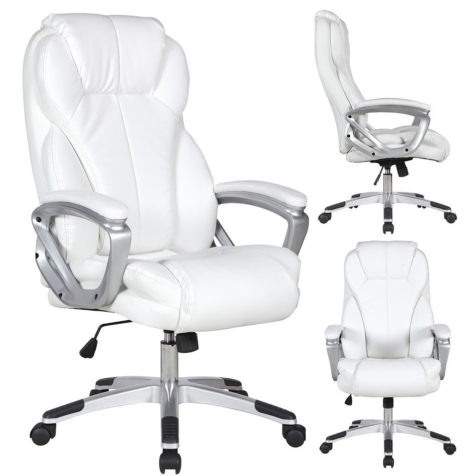 on sale fa9b9 d5893 2xhome White Leather Deluxe Professional Ergonomic High Back Executive  Office Chair Tall Comfortable Padded Cushion Modern