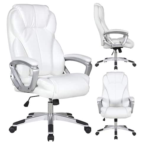 2xhome White Leather Deluxe Professional Ergonomic High Back Executive Office Chair Tall Comfortable Padded Cushion Modern