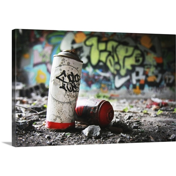 """""""Piece of evidence - empty paint can in front of graffiti-covered wall"""" Canvas Wall Art"""