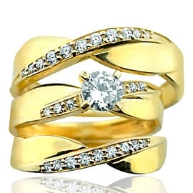 10K Gold Trio Rings Set Mens and Womens Rings 3pc Set 16mm Wide With Cubic Zarcons By MidwestJewellery - Yellow