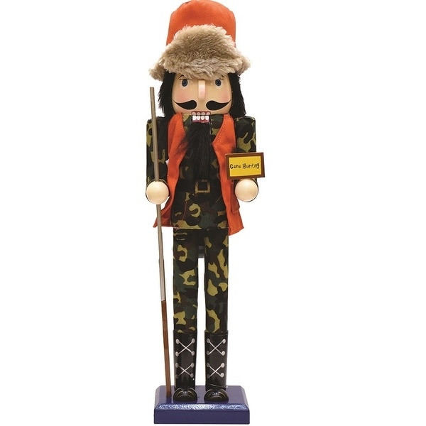 "15"" Decorative ""Gone Hunting"" Wooden Christmas Nutcracker in Fatigues"