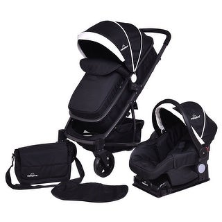 Costway 3 In1 Foldable Baby Kids Travel Stroller Newborn Infant Pushchair Buggy Black