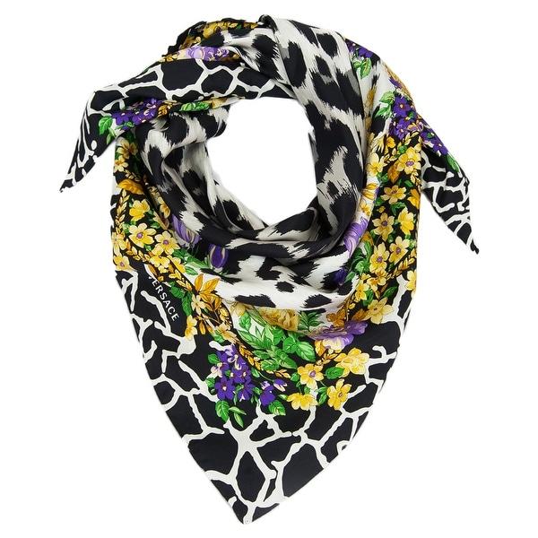 Versace VDA 9917 Grey Floral Safari Purple 100% Silk Scarf - 36-36