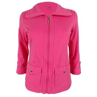 Karen Scott Women's Zip Up 3/4 Sleeve Jacket - petite