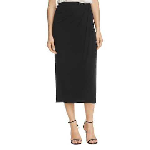 Donna Karan Womens Midi Skirt Faux Wrap Ruched - M