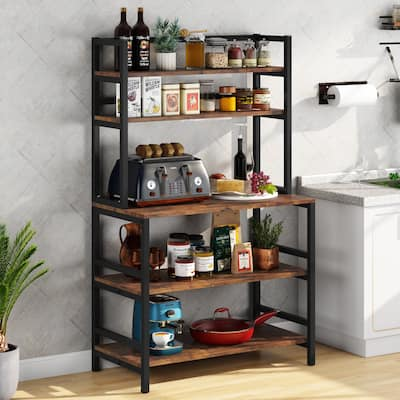 5-Tier Kitchen Bakers Rack Utility Storage Shelf Microwave Oven Stand, Industrial Microwave Cart Kitchen Stand with Hutch