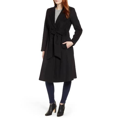 Sam Edelman Women's Black Size 6 Belted Wool Blend Trench Coat