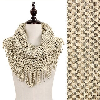 Eant7352-Be Mini Tube Scarf With Fringe-Beige