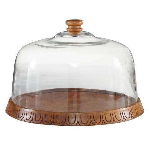 """Wooden Cake Holder With Cover Dome Glass Cloche 13""""Diameter Brown - 13 x 13 x 9Round"""
