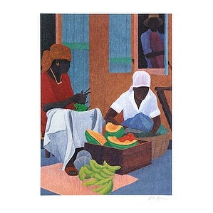 ''Market Square II'' by Peter Lynn African American Art Print (24 x 18 in.)