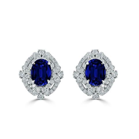 Auriya 18k White Gold 3 1/5ct Blue Sapphire and 5/8ct Diamond Halo Earrings